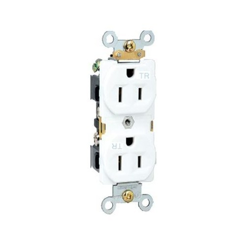 Residential Grade Tamper Resistant Duplex Receptacle White 15A-125V
