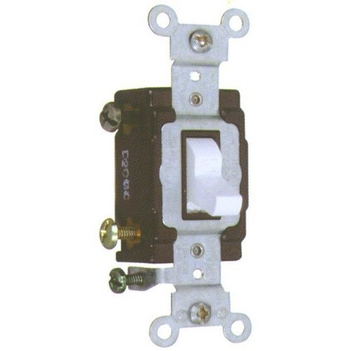 Commercial 3 Way Toggle Switch White 20A-120/277V