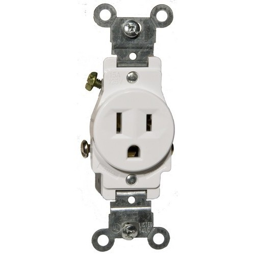 Commerical Grade Single Receptacle White 15A-125V