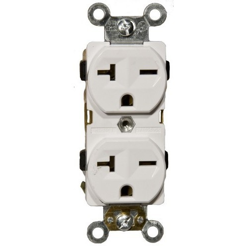 Industrial Grade Duplex Receptacle White 20A-250V