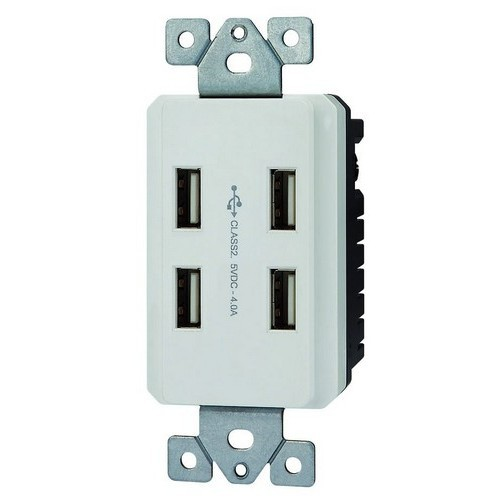 Decorative USB Charger Stations 4 Port 20A - 125V White