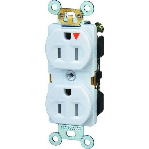 Tamper Resistant Isolated Ground Duplex Receptacles 15A 125V White