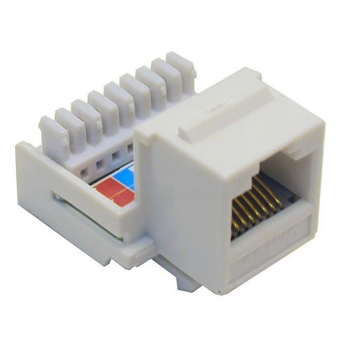 Cat5E (RJ45) Unshielded Keystone Jacks-Rear Entry White