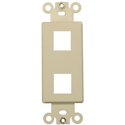 Decorative DataComm Frame For Keystone Jacks and Modular Inserts Two Ports Ivory