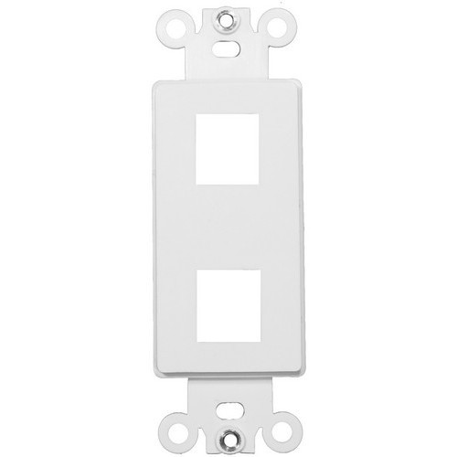Decorative DataComm Frame For Keystone Jacks and Modular Inserts Two Ports White