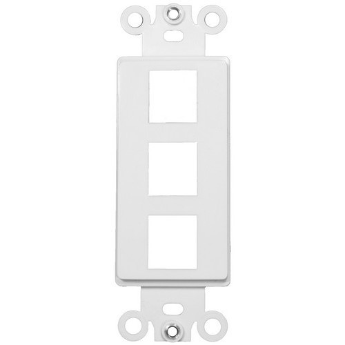 Decorative DataComm Frame For Keystone Jacks and Modular Inserts Three Ports White
