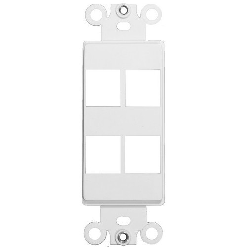 Decorative DataComm Frame For Keystone Jacks and Modular Inserts Four Ports White