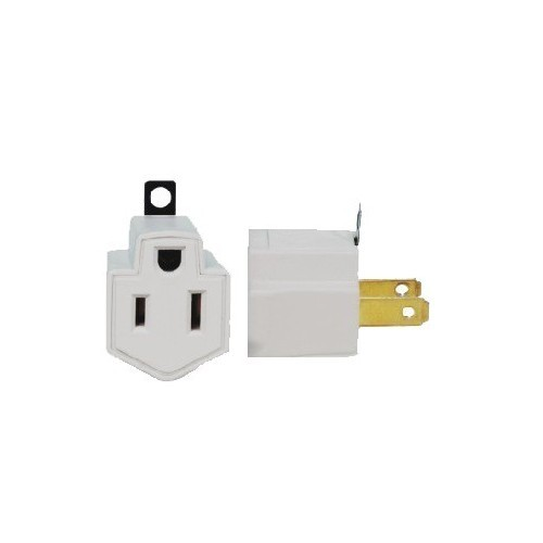 2 Prong to 3 Prong Adaptor (2 Pack)