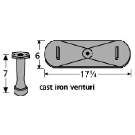 Cast iron venturi for Falcon, Olympia brand gas grills