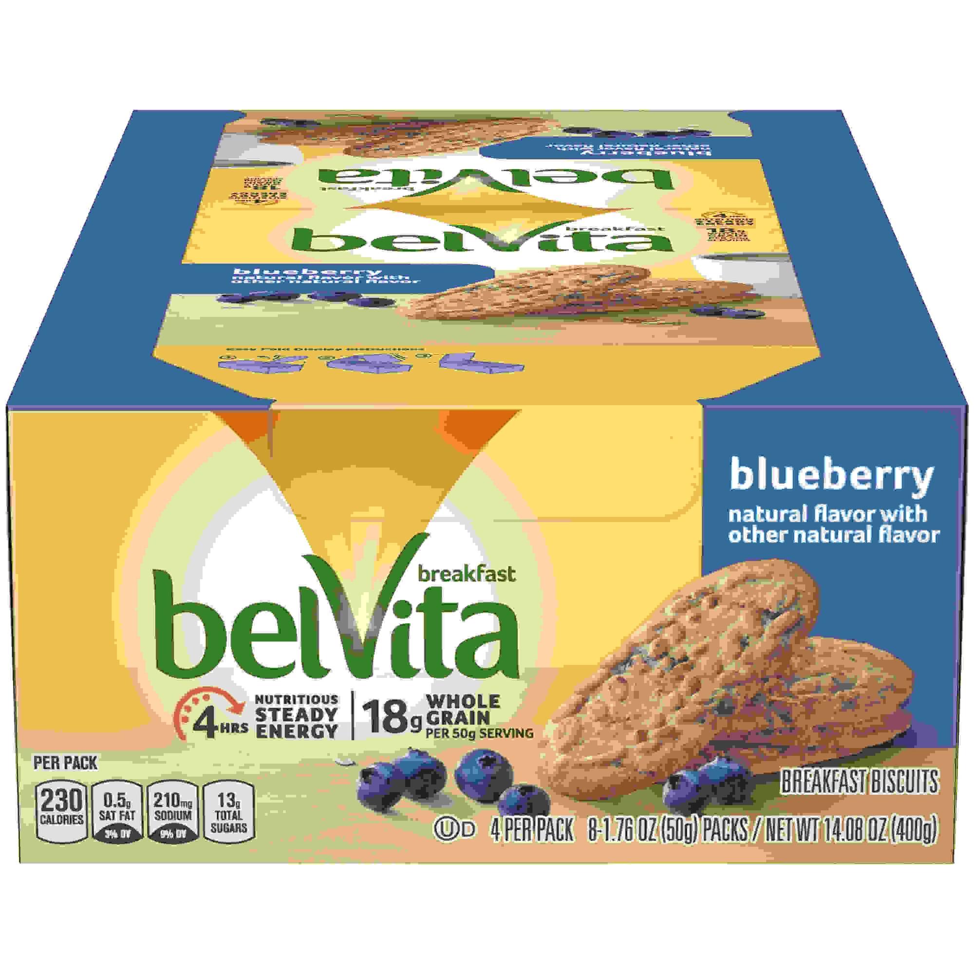 belVita Breakfast Biscuits, Blueberry, 1.76 oz Pack, 64/Carton