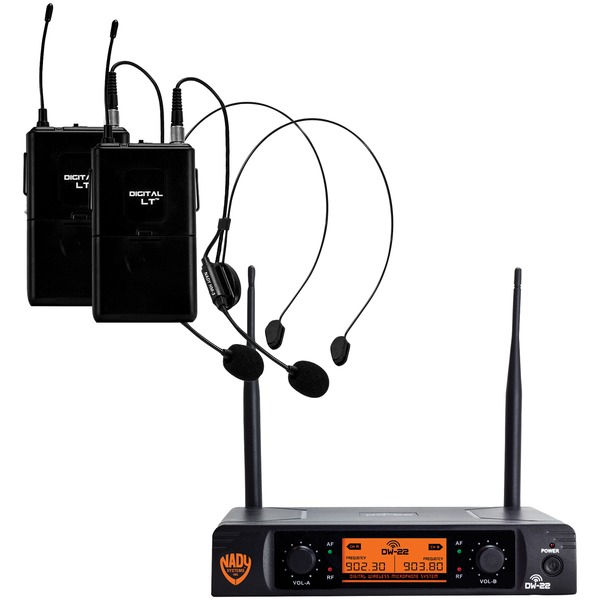 Nady DW-22-HM-ANY Dual-Transmitter Digital Wireless Microphone System (2 Digital LT HM-3 Headsets)