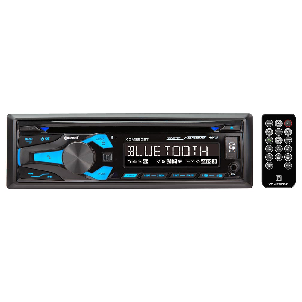 Dual Single Din AM/FM CD Player BT USB Aux 50wx4F/R Outputs