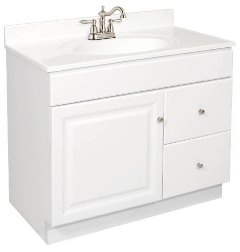 DESIGN HOUSE� WYNDHAM BATHROOM VANITY CABINET, READY TO ASSEMBLE, 1 DOOR, 2 DRAWER, WHITE, 36X31-1/2X21