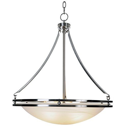 "20-5/8"" Contemporary 5 Lights Fluorescent Chandelier, Brushed Nickel with Alabaster Glass Shade"