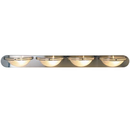 MONUMENT CONTEMPORARY VANITY FIXTURE, MAXIMUM FOUR 100 WATT INCANDESCENT MEDIUM BASE BULBS, 48 IN., BRUSHED NICKEL