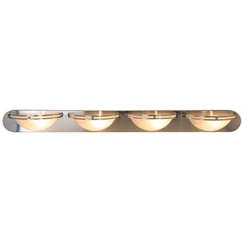 Contemporary Fluorescent Lighting Collection 4-Light Bath Vanity Brushed Nickel