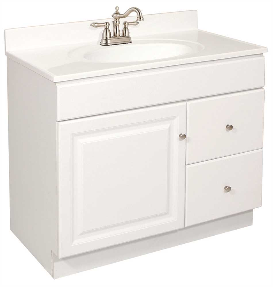 "36"" Wyndham Bathroom Vanity Cabinet, Ready To Assemble, 1 Door, 2 Drawer, White"