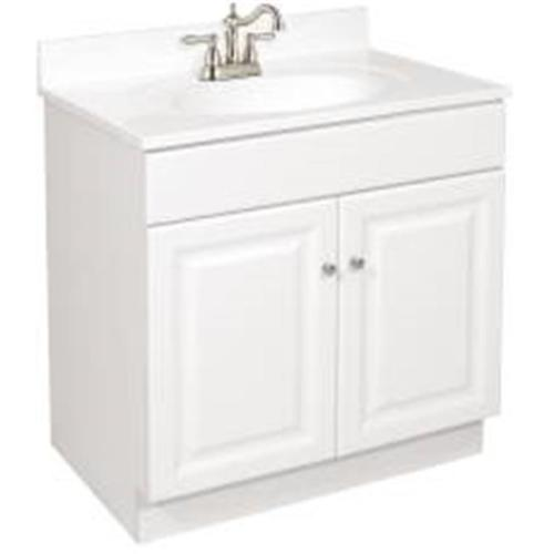 "30 x 18"" Wyndham Bathroom Vanity Cabinet, Ready To Assemble, 2 Door, White"