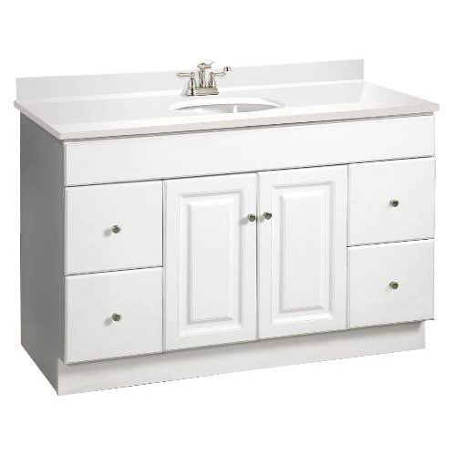 "48"" Wyndham Bathroom Vanity Cabinet, Ready To Assemble, 2 Door, 4 Drawer, White"