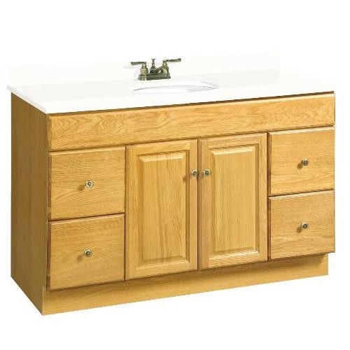 "48"" x 21"" Claremont Bathroom Vanity Cabinet, Ready To Assemble, 2 Door, 4 Drawer, Honey Oak"