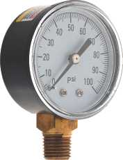 WATER PRESSURE GAUGE 0 TO 100 PSI, 2 IN. FACE, LEAD FREE