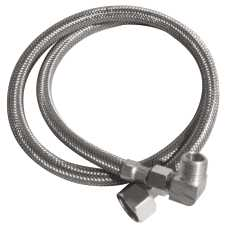 DISHWASHER CONNECTOR FLEXIBLE STAINLESS STEEL, 84 IN., 3/8 IN. COMP X 3/8 IN. COMP WITH 90 DEGREE ELBOW, LEAD FREE