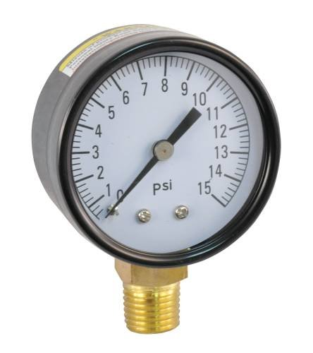PRESSURE GAUGE 0 TO 30 PSI, 2 IN. FACE