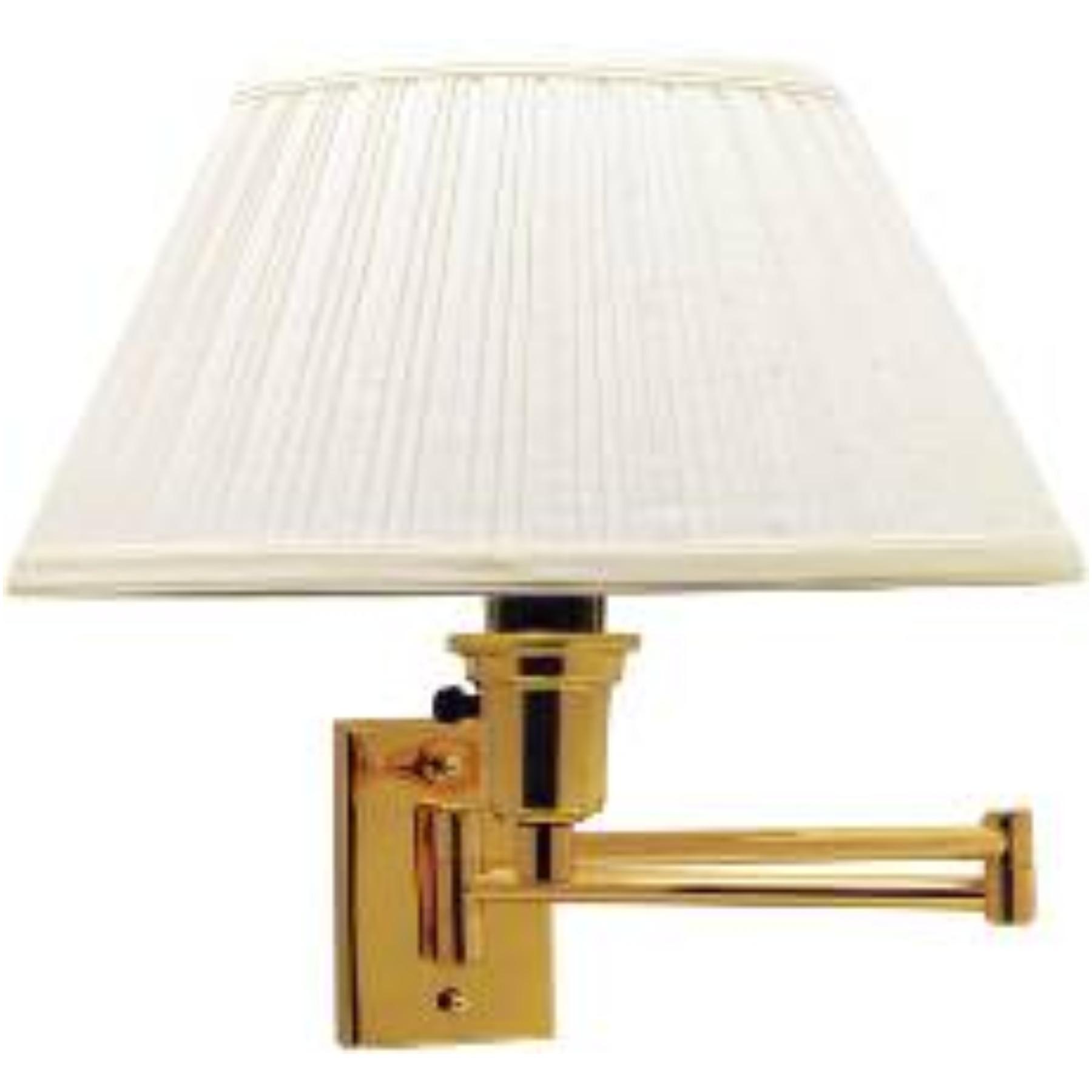 SWING ARM WALL LAMP , MAXIMUM ONE 150 WATT THREE WAY INCANDESCENT MEDIUM BASE BULB, POLISHED BRASS WITH IVORY SHADE
