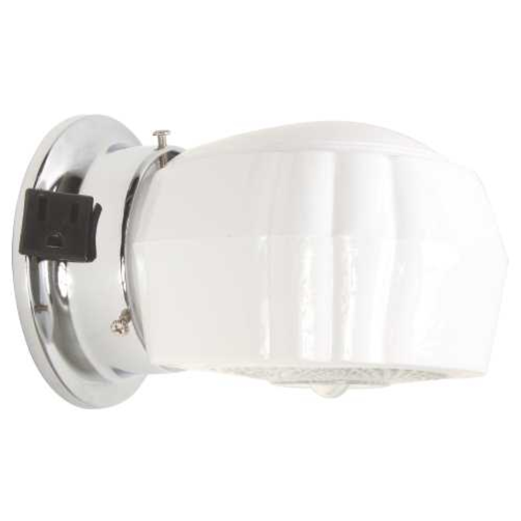 """ROYAL COVE BATHROOM WALL FIXTURE WITH OUTLET, 5-3/4"""", POLISHED CHROME, USES 1 60-WATT INCANDESCENT MEDIUM BASE BULB"""