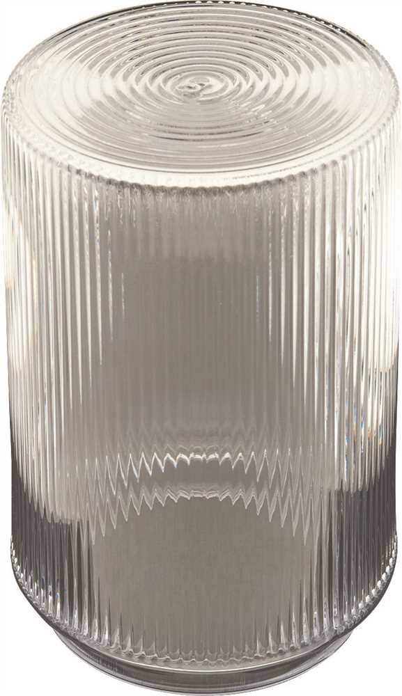 "RIBBED LIP FITTER CYLINDER 5-3/4"", CLEAR PLASTIC"