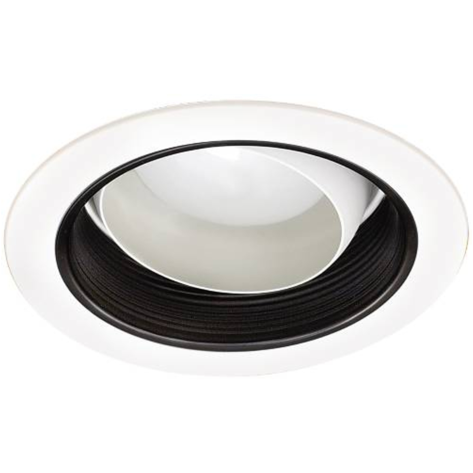 MONUMENT� 6 IN. RECESSED REGRESSED EYEBALL TRIM, WHITE WITH BLACK BAFFLE, 7-3/4 X 4 IN., BR30/PAR30