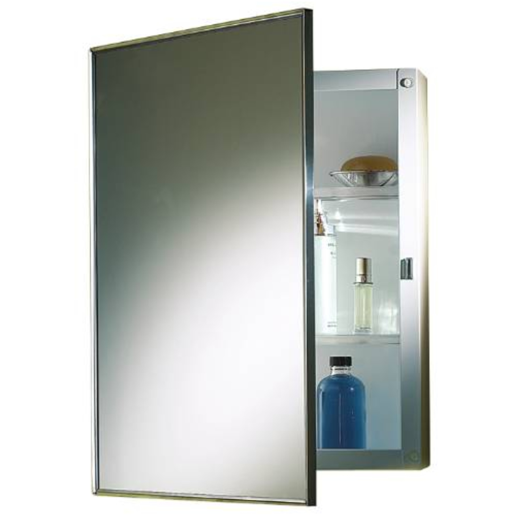 NUTONE� RECESSED SWING-DOOR MEDICINE CABINET, 16 IN. X 22 IN., POLISHED STAINLESS STEEL FRAME