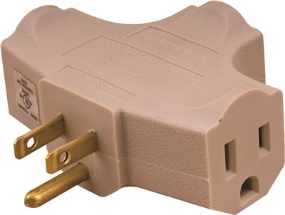 PREFERRED INDUSTRIES� GROUND ADAPTER WIRE, 3 WIRE, 15 AMPS, 125 VOLTS, VINYL