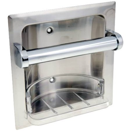 (Open Box)Recessed Soap Dish With Grab Bar, Chrome