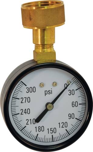 WATER PRESSURE GAUGE 0 TO 300 PSI, 2-1/2 IN. FACE