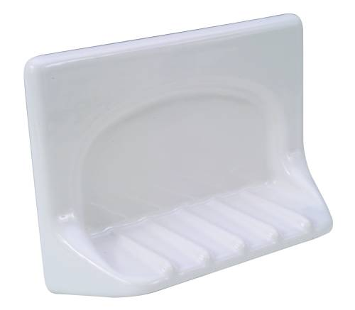 GROUT-IN CERAMIC BATHTUB SOAP DISH, WHITE