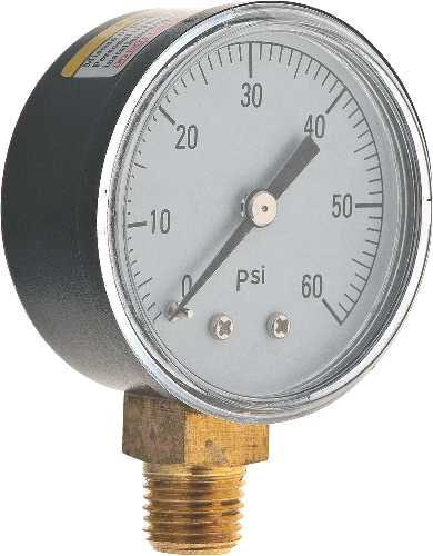 WATER PRESSURE GAUGE 0 TO 60 PSI, 2 IN. FACE
