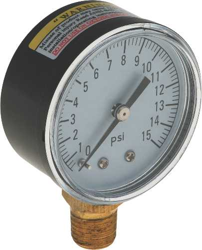 WATER PRESSURE GAUGE 0 TO 15 PSI, 2 IN. FACE