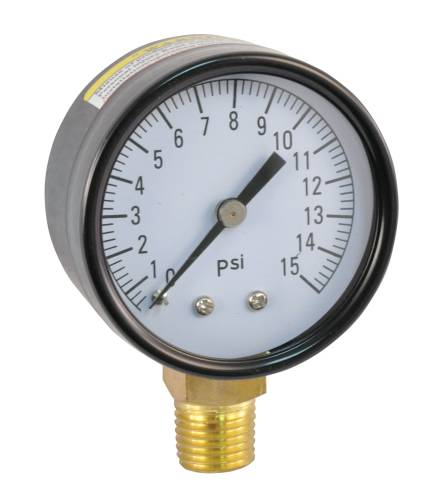 PRESSURE GAUGE 0 TO 15 PSI, 2 IN. FACE