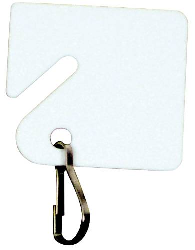 SLOTTED KEY TAG WITH SNAP RINGS WHITE