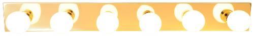 "36"" Royal Cove Vanity Strip Light Fixture, Uses 6 60W Incandescent G25 Medium Base Bulbs, Polished Brass"