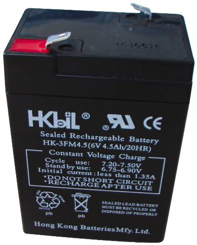 RECHARGEABLE REPLACEMENT BATTERY FOR EMERGENCY EXIT LIGHT, 6 VOLTS, 4.5 AMPS