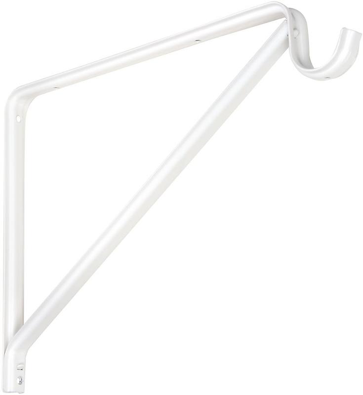 BRACKET SHELF/ROD WHITE