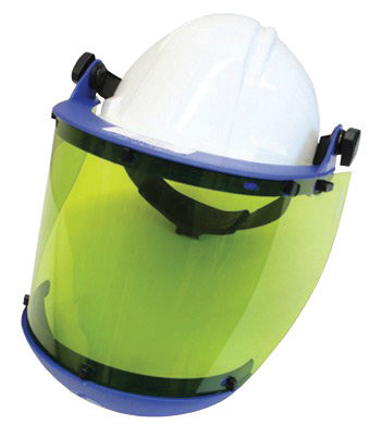National Safety Apparel� Level 2 10cal Green Polycarbonate Faceshield Unit With Slotted Hard Hat Adapter And Chin Guard
