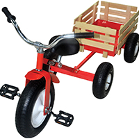North American Tool 53498 Retro Tricycle With Wagon, 33.45 in L x 22.45 in W x 27.55 in H, Steel