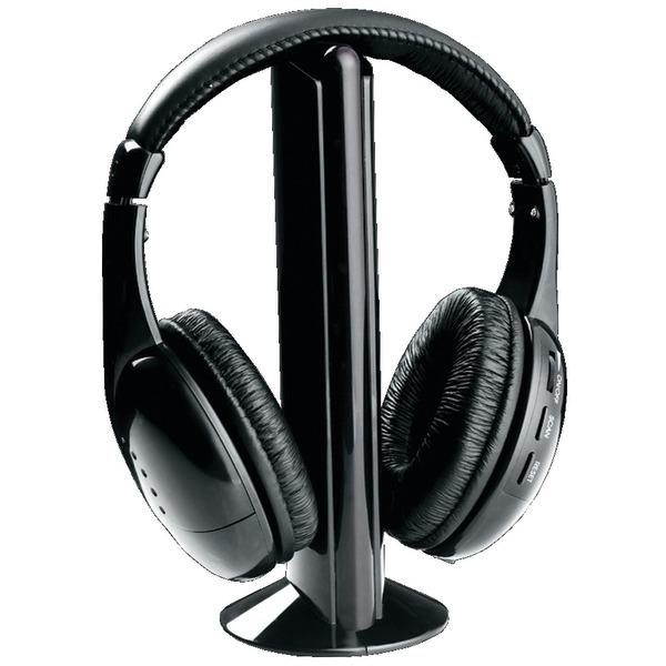 NAXA NE922A Professional 5-in-1 Wireless Headphones with Microphone & FM Radio