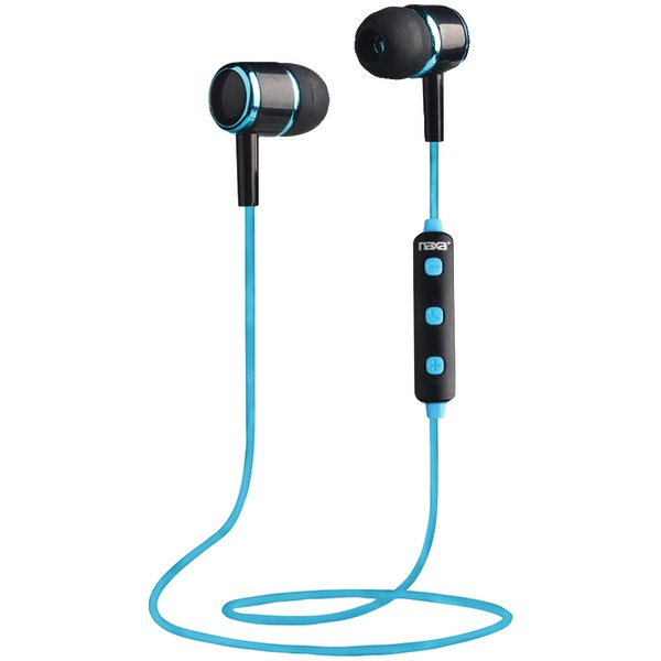 Naxa NE-950 BLACK/BLUE Bluetooth Isolation Earbuds with Microphone & Remote (Blue)