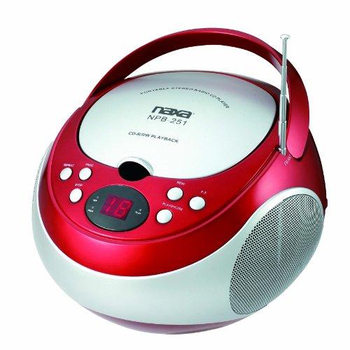 NAXA NPB-251-RED PORTABLE CD PLAYER WITH AM/FM RADIO