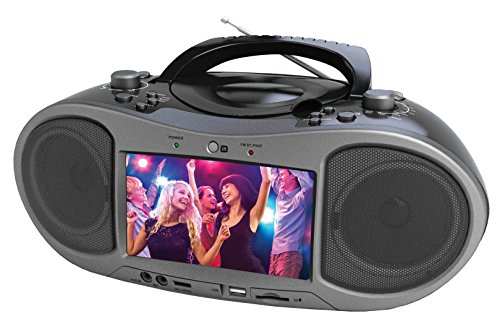 "Naxa Bluetooth DVD Boombox with built-in 7"" LCD screen"