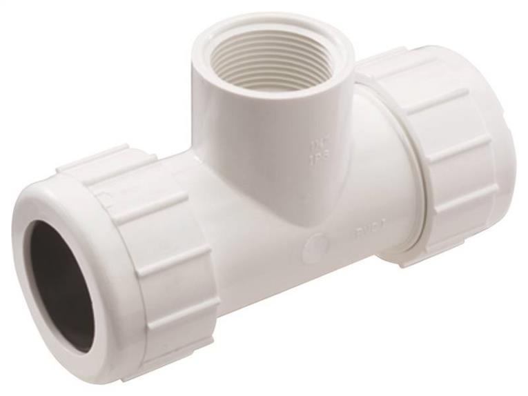 NDS CPT-1500-T Pipe Tee, 1-1/2 in, Compression x Threaded, 150 psi at 72 deg F, SCH 40, PVC